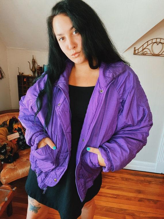 Vintage 80's Bright Neon Purple Ski Jacket Size La