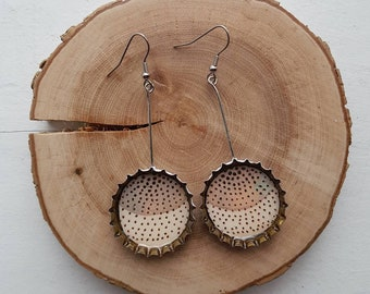 Upcycled beer caps earrings - Dots