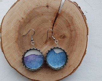 Upcycled beer caps earrings - Blue/Turquoise - Various patterns