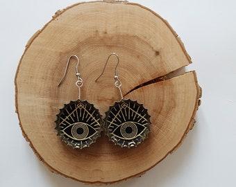 Upcycled beer caps earrings - Lunar cycle