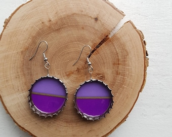 Upcycled beer caps earrings - Olive - Various patterns