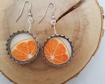 Upcycled beer caps earrings - Grapefuit, pomelo, pink citrus