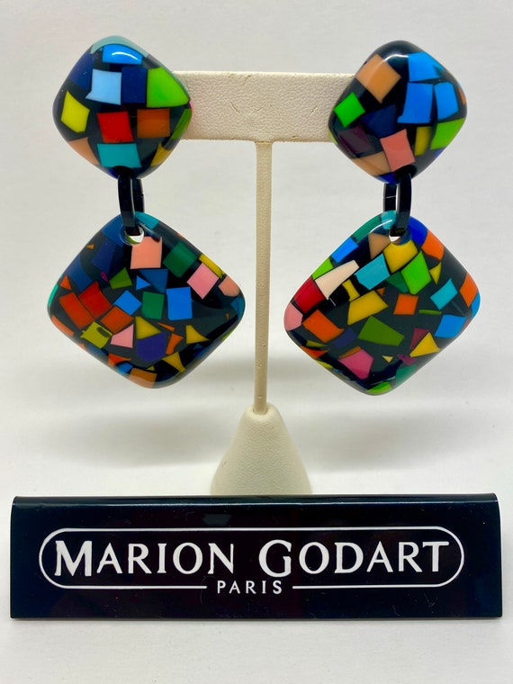 Large Square Clip-On Dangle Confetti Earrings in C