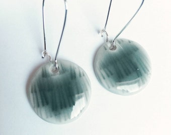 Porcelain earrings blue grey handmade pigeon blue silver plated unique