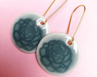 Porcelain earrings blue grey handmade pigeon blue flower unique
