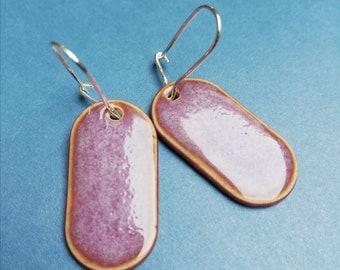 Porcelain earrings 925 silver pink purple violet handmade unique