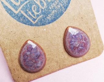 Ceramic studs drop pink purple magenta violet marbled handmade