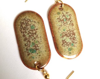 Ceramic earrings unique statement earrings handmade gold plated