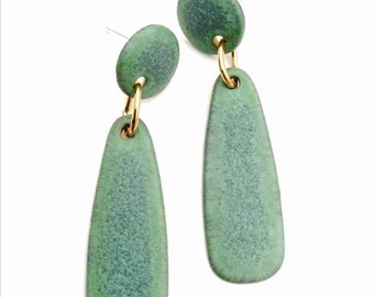 Ceramic earrings 925 silver turquoise green plated handmade unique
