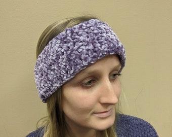 Velvet Purple Crochet Winter Headband