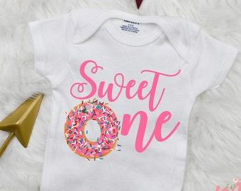 4b131ed31 Sweet One Onesie ® | Donut Birthday Onesie | 1st Birthday Onesie | Doughnut  Bodysuit | Baby Girl Onesie | Baby Girl Bodysuit