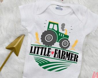 Hello Handmade Baby Little Farmer Red Rooster Farm Baby Bodysuit Shower Gift Surprise Parents