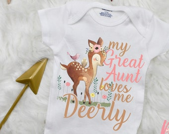 81f580e6949e9 My Great Aunt Loves Me Deerly Onesie ® | Boho Onesie | Woodland Deer  Bodysuit | Baby Outfit | Baby Outfit | Baby Girl Onesie | Deer Onesie ®