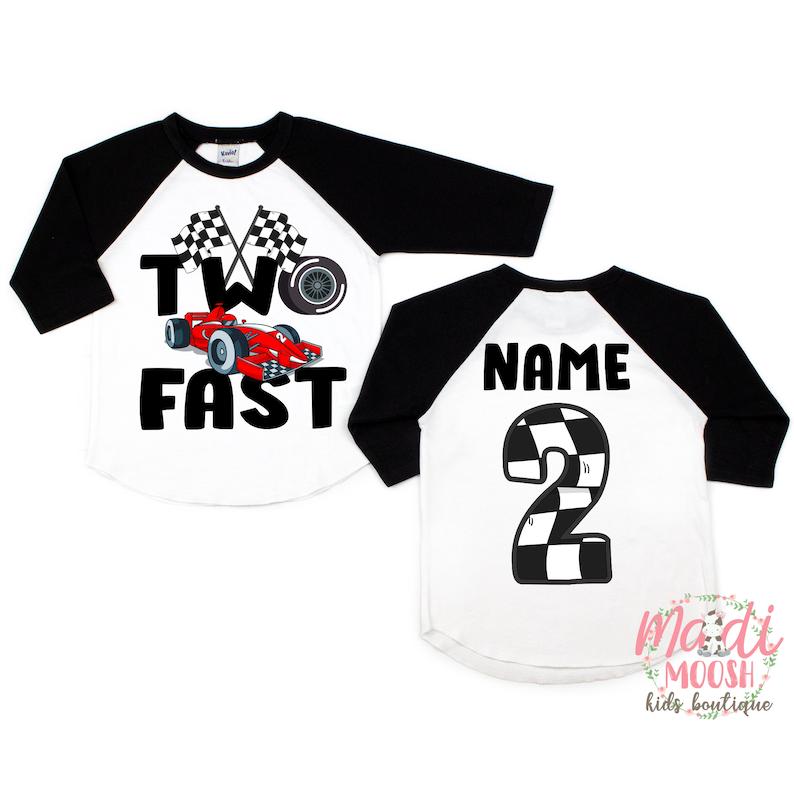 Two Fast Birthday T-Shirt Racecar Birthday Shirt Birthday Boy Shirt 2nd Birthday T-Shirt Second Birthday Shirt