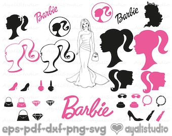 photograph relating to Free Printable Barbie Silhouette identify Barbie silhouette Etsy