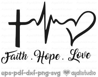 Hope /& Love Asian Symbols Hand Cut /& Framed Faith