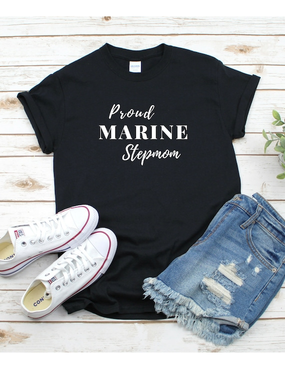 Proud Marine Stepmom Short Sleeve T Shirt, Proud Marine Mom Shirt, Marine Stepmom t shirt, Marine Family Shirt