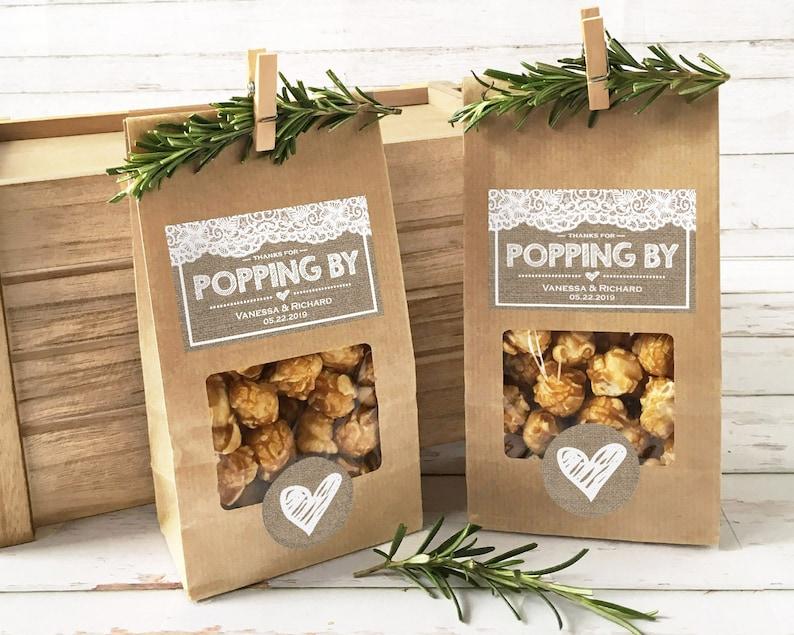 Rustic Wedding Favor Bags Popcorn Country theme Wedding image 0