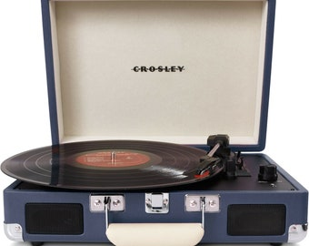 CR8005D-BL Crosley Cruiser Portable 3-Speed Turntable with Bluetooth Blue Str