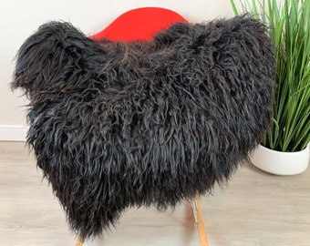 GENUINE SHEEPSKIN FUR RUG THROW NATURAL BLACKREAL SHEEPSKIN RUG SEAT COVER
