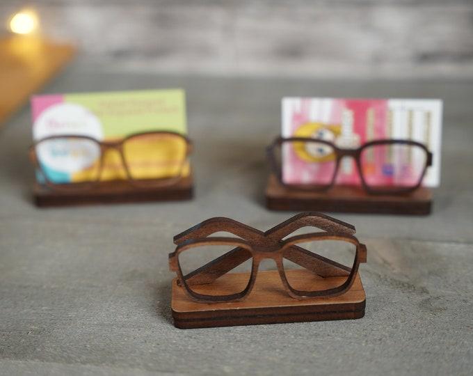 Eyeglass Business Card Holder Wood