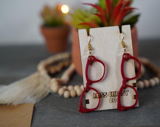 Eyeglass Earrings 3D printed Deep Red Optical Gift