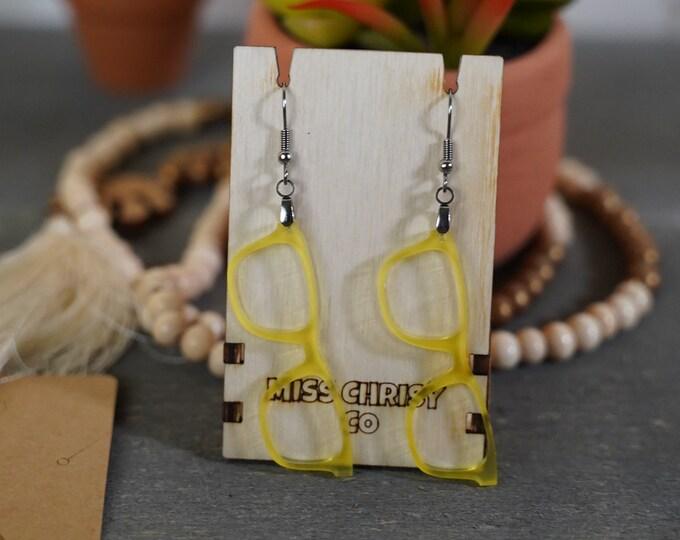 Eyeglass Earrings Acrylic Yellow Optical Gift