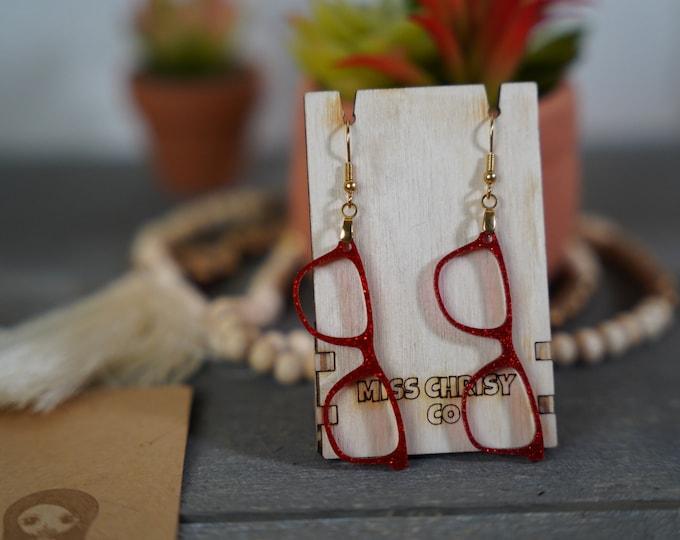 Eyeglass Earrings Acrylic Glitter Red Optical Gift