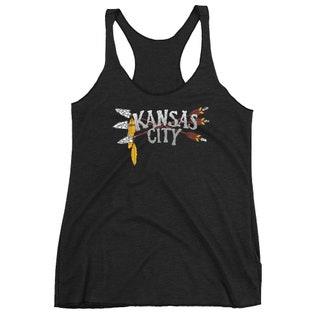 Kansas City Racerback Tank Top Womens Black Next Level Apparel Tri-Blend Fitness | McKenna Creative | Free Shipping
