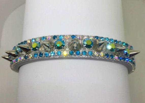 Aqua Aurora Spikes rhinestone pet collar vegan leather handmade in USA