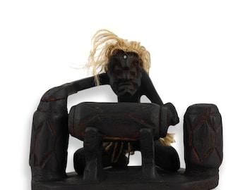 Ritual Tribal Art Statue Asmat ancestral figure drummer papua