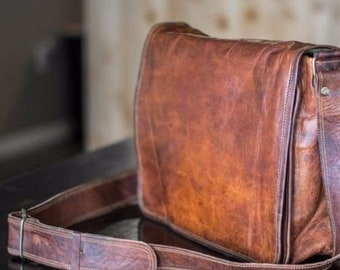 Handmade Men s Genuine Leather Vintage Laptop Messenger Briefcase Bag  Satchel 6e536b7902964