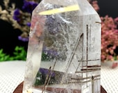 Rare Natural black Tourmaline Rutilated Quartz Tower black Tourmaline Included Crystal Point Crystal Specimen Crystal energy Healing crystal