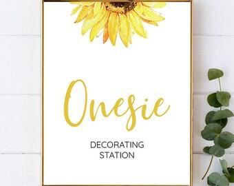 009 Sunflower Onesie Decorating Station Sign