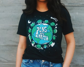 e60e5de8 Vegan T-Shirt PEAS ON EARTH Unisex | Plant Based shirt, Team Herbivore,  Animal Rights, Wholesome Soybean