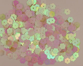 Loose Sequins Tiny White Iris Stars 6mm ~800 pieces Center Hole