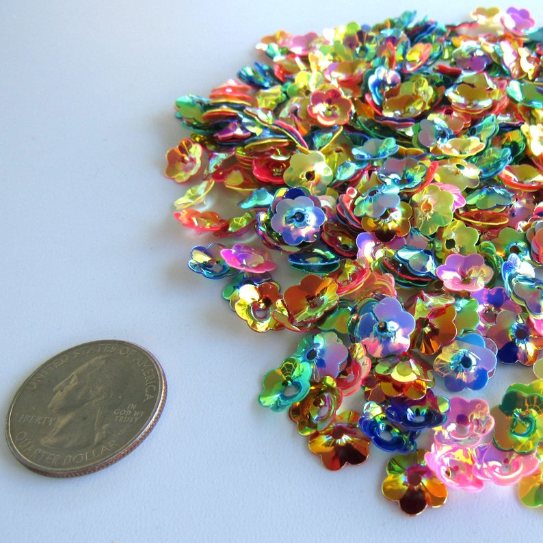Flower Sequins 10mm Gold Wash Flowers Mixed Colors Lustre ~ 125 pieces Loose