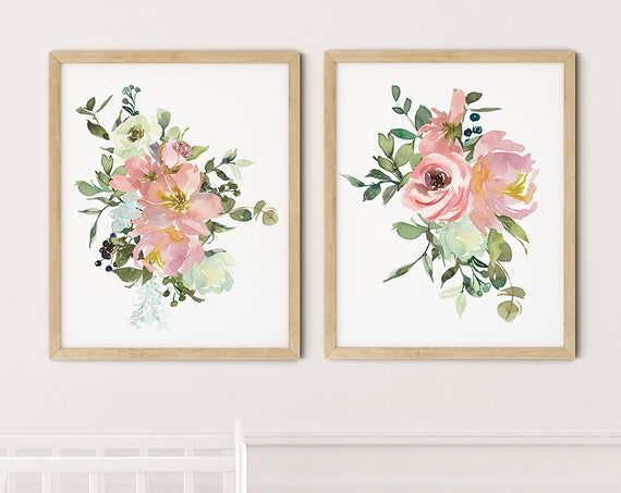 Blush Pink Floral Art Print Set | Printable Nursery Art | Watercolor Kids Room | Baby Room Wall | Girl Nursery Decor | Set 2 Flower Prints