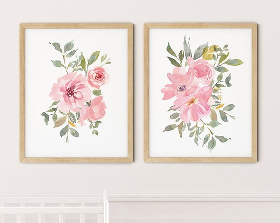 Pink Floral Art Print Set | Printable Nursery Art | Watercolor Kids Room | Baby Room Wall Art | Girl Nursery Decor | Set 2 Flower Prints