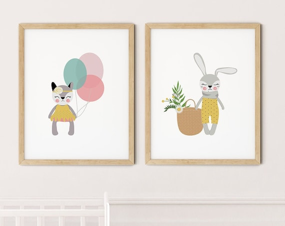 Modern Animal Art Print Set | Printable Nursery Art | Balloons Cat Rabbit Kids Room | Baby Room Wall | Girl Nursery Decor | Set 2 Prints