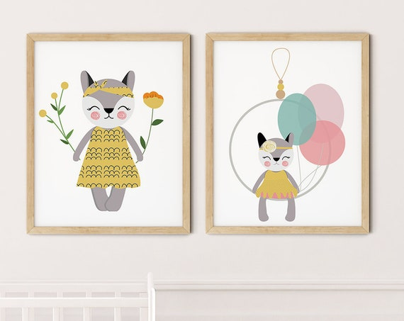 Modern Boho Cats Art Print Set | Printable Nursery Art | Cat Flowers Hoop Kids Room | Baby Room Wall | Girl Nursery Decor | Set 2 Prints