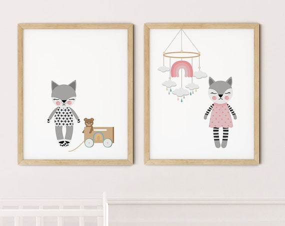 Modern Cats Art Print Set | Printable Nursery Art | Cat Toys Mobile Kids Room | Baby Room Wall | Girl Nursery Decor | Set 2 Prints