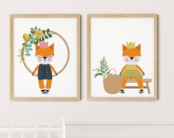 Modern Orange Cats Art Print Set | Printable Nursery Art | Cat Toys Hoop Kids Room | Baby Room Wall | Girl Nursery Decor | Set 2 Prints