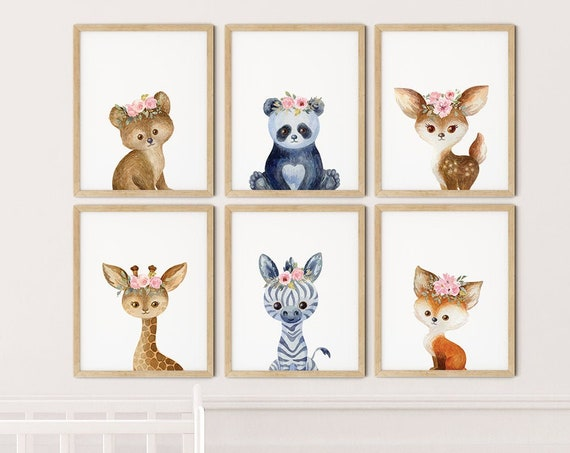 Baby Safari Animals Boho Art Print Set | Printable Nursery Art | Baby Floral Kids Room | Baby Room Wall | Girl Nursery Decor | Set 6 Prints