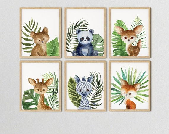 Baby Safari Animals Jungle Art Print Set | Printable Nursery Art | Baby Tropical Room | Baby Room Wall | Boy Nursery Decor | Set 6 Prints