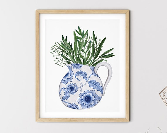 Blue Hamptons Jug Greenery Art Digital Print | Printable Plant Art | Still Life Art Print | Blue Botanical Wall Art | Blue China Print