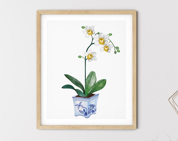 Blue Hamptons Vase Orchid Art Digital Print | Printable Flowers Art | Still Life Art Print | White Botanical Wall Art | Blue China Print