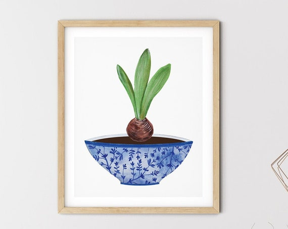 Blue Hamptons Vase Greenery Art Digital Print | Printable Plant Art | Still Life Art Print | Blue Botanical Wall Art | Blue China Print