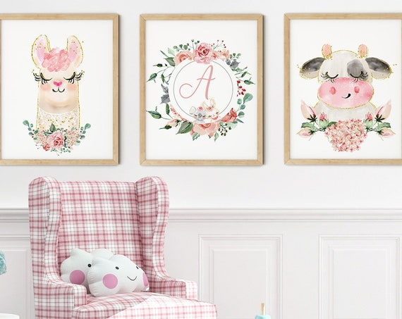 Baby Llama Cow Art Print Set | Printable Nursery Art | Kids Room Name Sign | Baby Room Wall Art | Girl Nursery Decor | Set 3 Prints