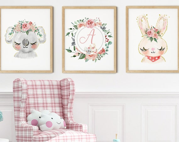 Baby Koala Bunny Art Print Set | Printable Nursery Art | Kids Room Name Sign | Baby Room Wall Art | Girl Nursery Decor | Set 3 Prints